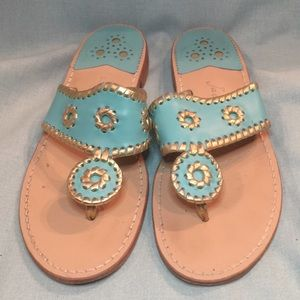 Jack Rogers Teal and Gold Hamptons Leather Sandals